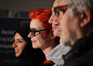 Sandy Powell with the Directors of Qumra. March 2018